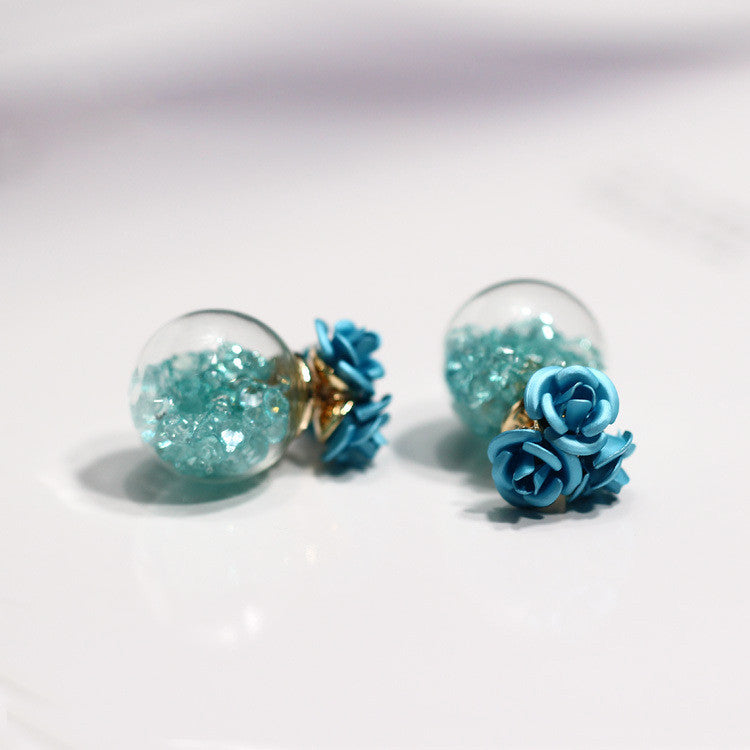 Rose Glass Crystal Ball Earring - Oh Yours Fashion - 4