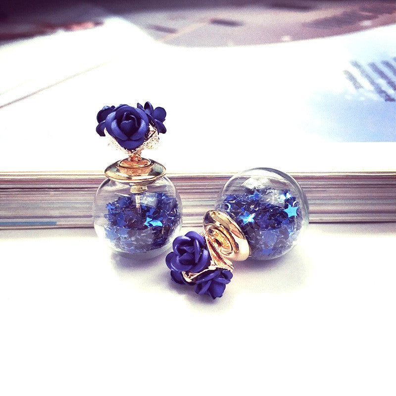 Flower Glass Ball Stars Quicksand Earring - Oh Yours Fashion - 7
