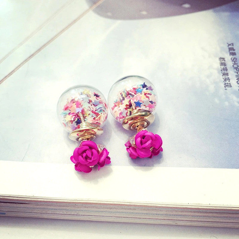 Flower Glass Ball Stars Quicksand Earring - Oh Yours Fashion - 8