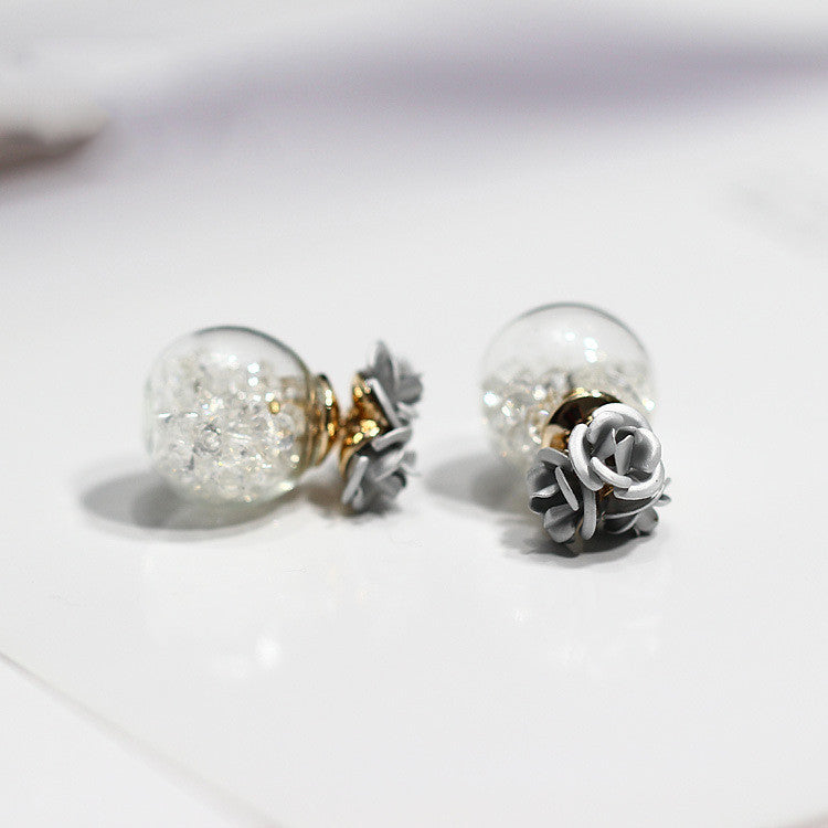 Rose Glass Crystal Ball Earring - Oh Yours Fashion - 3