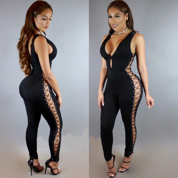 Black Deep V-neck Side Hollow Out Sleeveless Long Jumpsuit - Oh Yours Fashion - 2