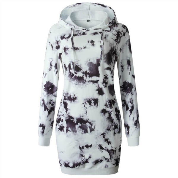 Printed Hooded Sweatshirt Short Dress