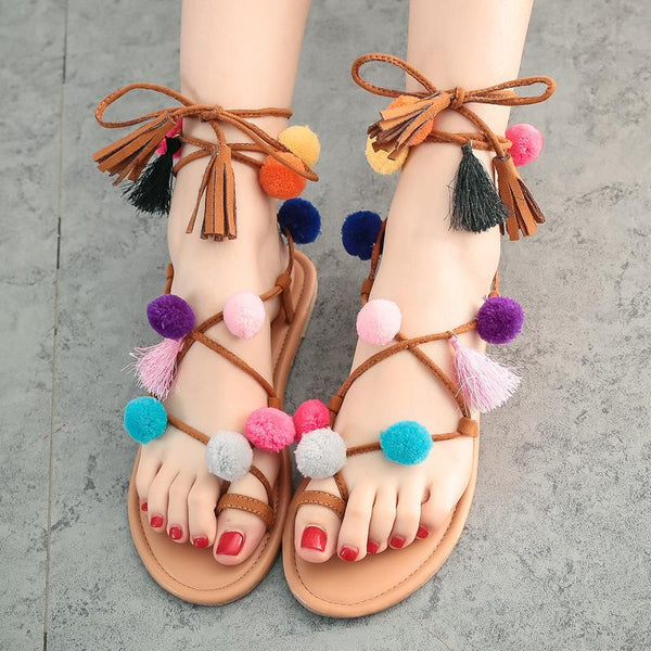 Colorful Ball Decorate Slip-on Tassels Lace UP Flat Sandals