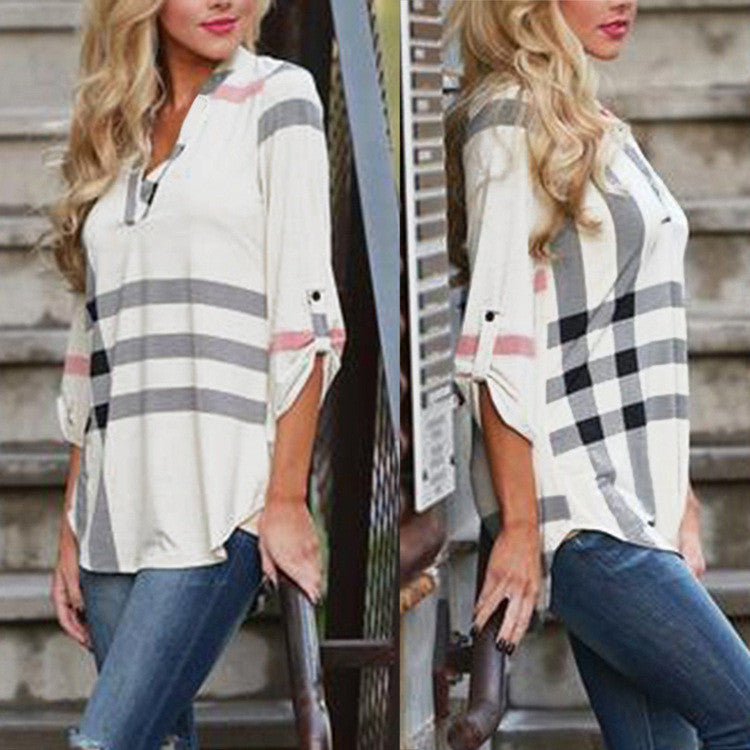 V-neck Plaid Print 3/4 Sleeves Loose Blouse - Oh Yours Fashion - 6