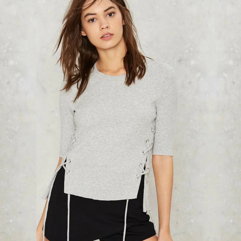 Fashsion Side Lace Up Pull Over Sweater - Oh Yours Fashion - 3