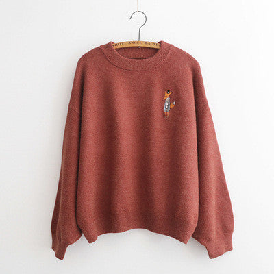 Embroidery Loose Puff Sleeve Sweater - Oh Yours Fashion - 3
