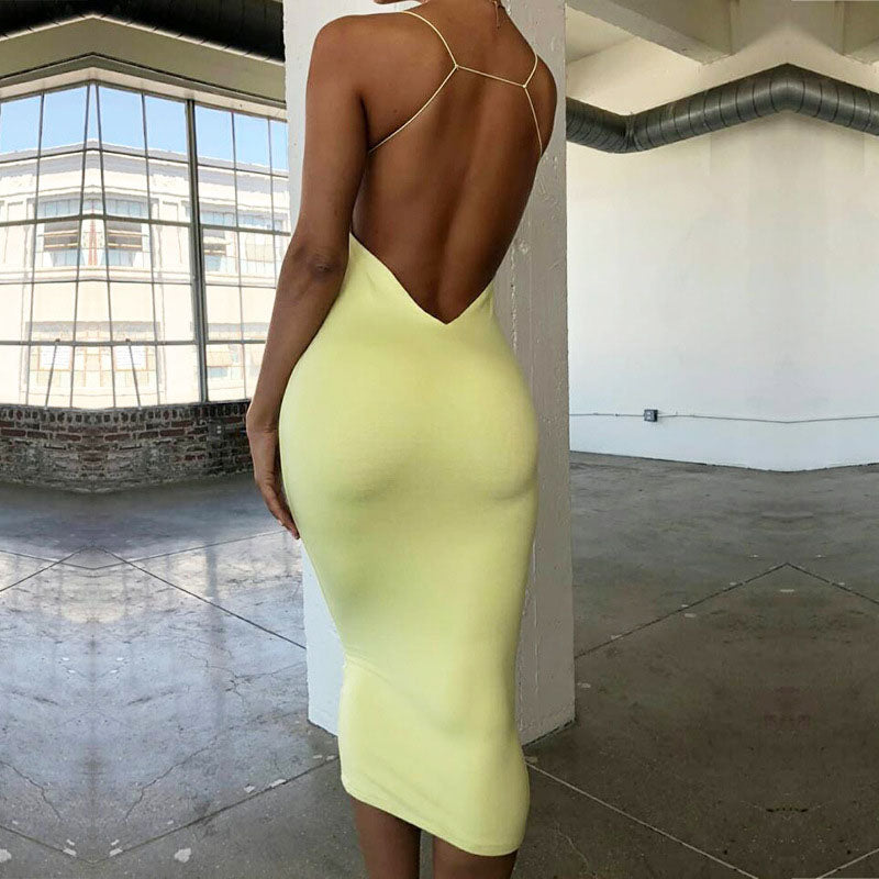 Sexy Spaghetti Strap Backless Bodycon Dress