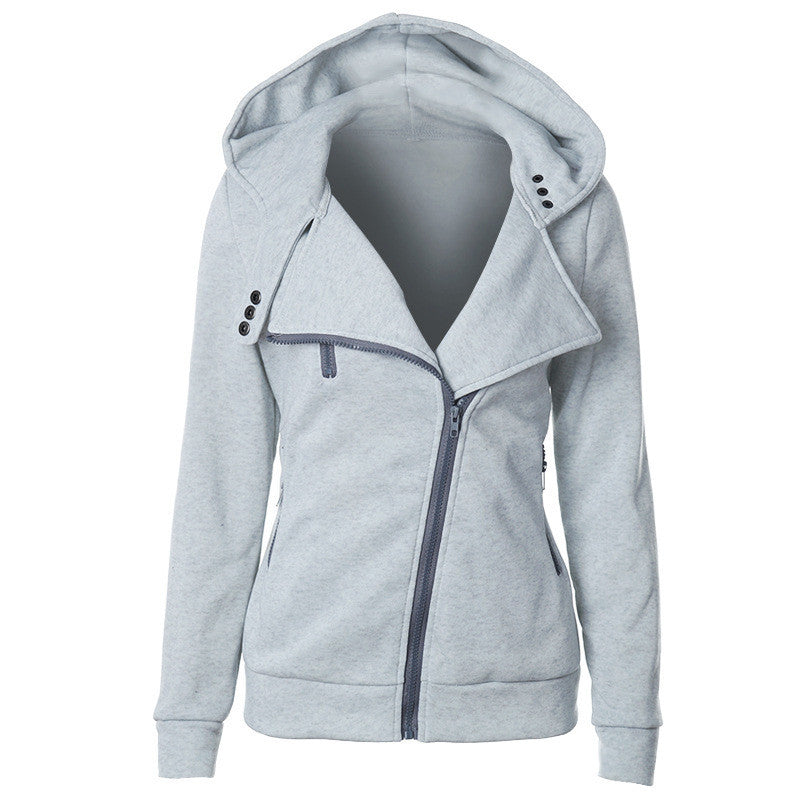 Slide Zipper Pure Color Hooded Lapel Hoodie - Oh Yours Fashion - 9
