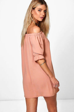 Off Shoulder Elastic Puff Sleeve Button Decorate Short Dress