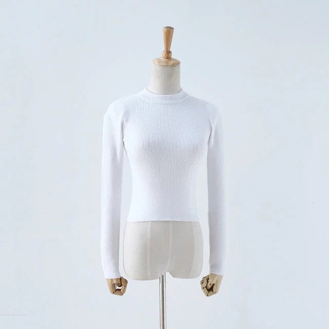 High Collar Pure Color Short Knit Sweater - Oh Yours Fashion - 1