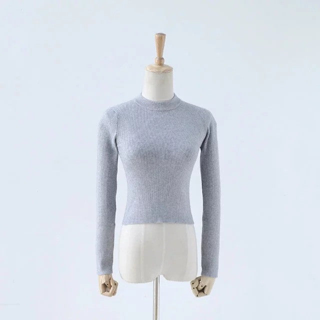 High Collar Pure Color Short Knit Sweater - Oh Yours Fashion - 6