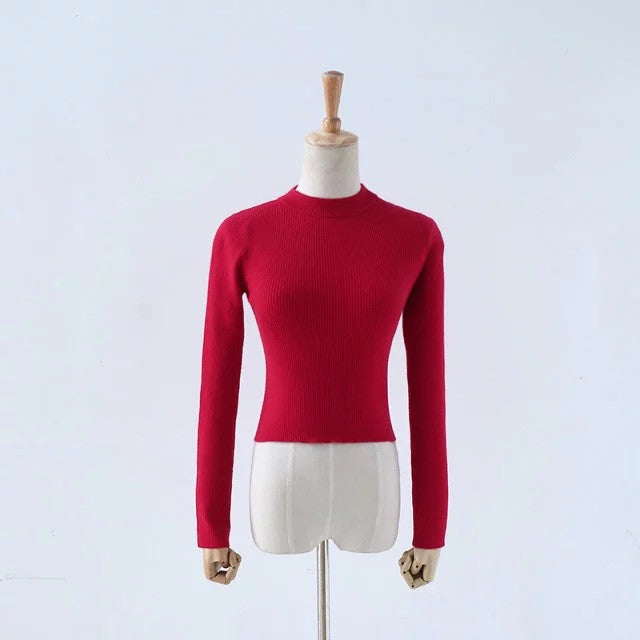 High Collar Pure Color Short Knit Sweater - Oh Yours Fashion - 4