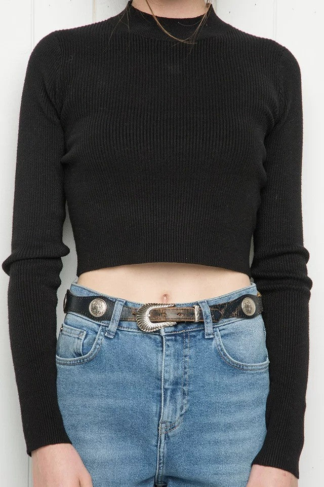 High Collar Pure Color Short Knit Sweater - Oh Yours Fashion - 11