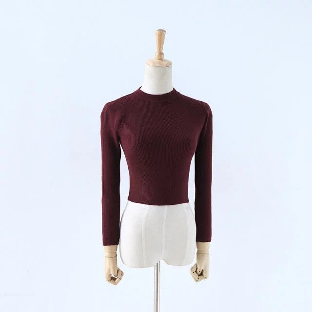 High Collar Pure Color Short Knit Sweater - Oh Yours Fashion - 8