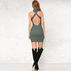 Knitting High-Neck Sleeveless Bodycon Short Dress - Oh Yours Fashion - 6