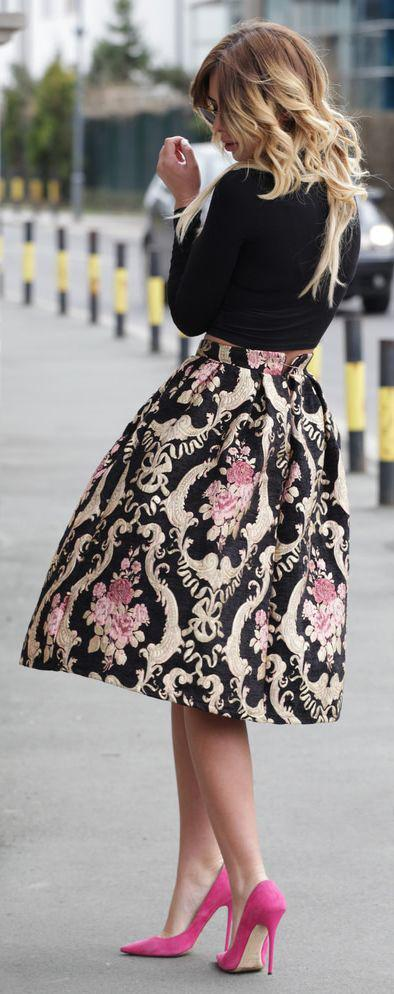 Retro Style Floral Print High Waist Pleated Flared Skirt