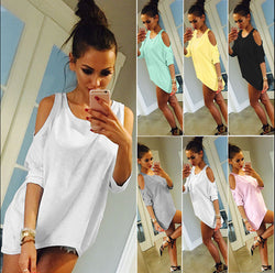 Fashion Dew Shoulder Loose Batwing-Sleeved Blouse - Oh Yours Fashion - 1