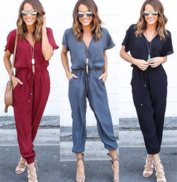 Pure Color V-neck Short Sleeves Long Loose Jumpsuit