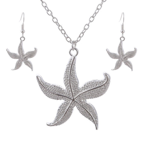 2016 Female Necklace and Earrings Silver Starfish Jewelry Set