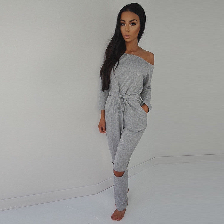 Off Shoulder Long Sleeve Draw String Waist Long Jumpsuit - Oh Yours Fashion - 2