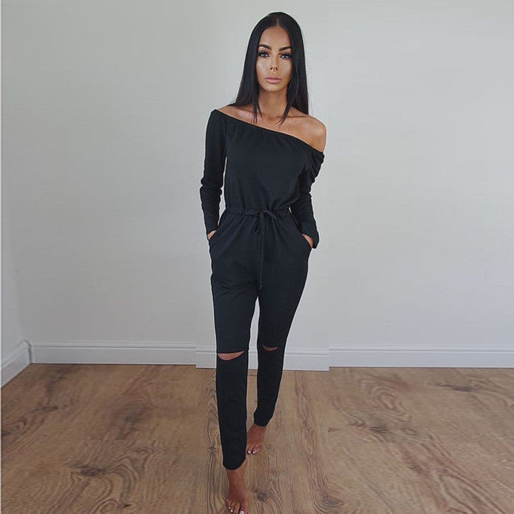 Off Shoulder Long Sleeve Draw String Waist Long Jumpsuit - Oh Yours Fashion - 6