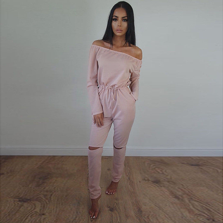 Off Shoulder Long Sleeve Draw String Waist Long Jumpsuit - Oh Yours Fashion - 7
