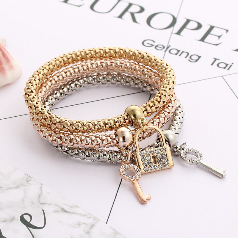 Crystal Diamond Key Lock Bounce Bracelet - Oh Yours Fashion - 2