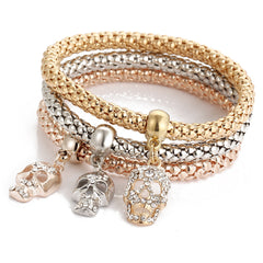 Crystal Skulls Three Color Bounce Bracelet - Oh Yours Fashion - 1