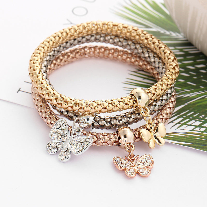 Crystal Butterfly Three Color Bounce Bracelet - Oh Yours Fashion - 3