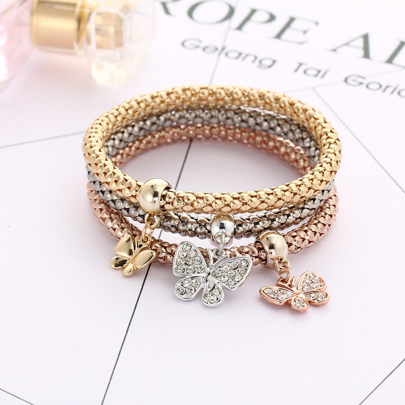 Crystal Butterfly Three Color Bounce Bracelet - Oh Yours Fashion - 2