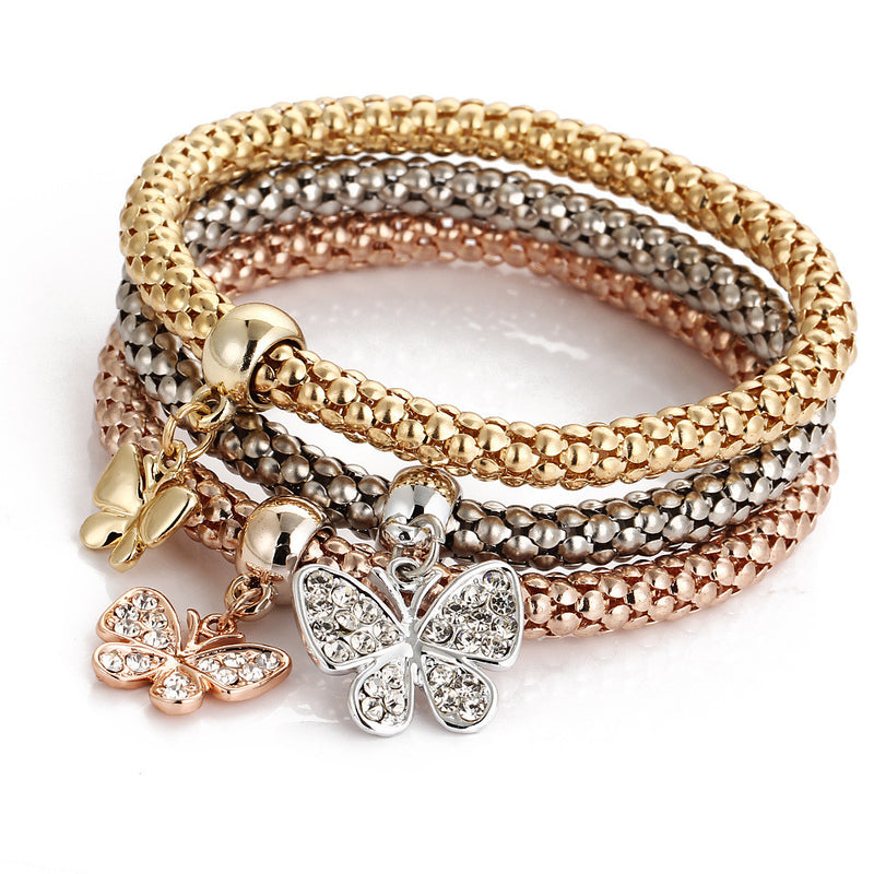 Crystal Butterfly Three Color Bounce Bracelet - Oh Yours Fashion - 1
