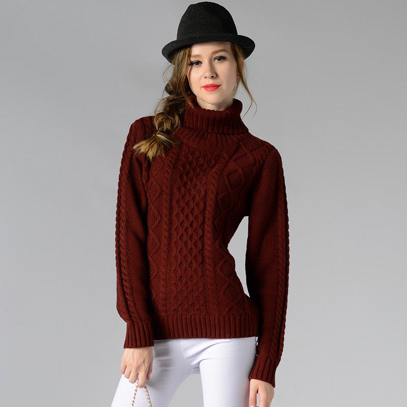 Casual High-Neck Braid Knitting Slim Sweater - Oh Yours Fashion - 6