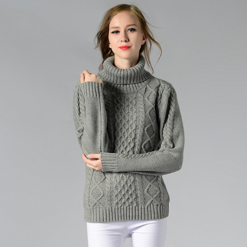 Casual High-Neck Braid Knitting Slim Sweater - Oh Yours Fashion - 4