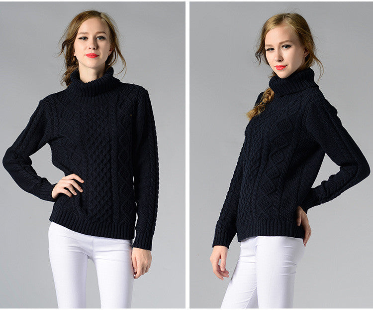 Casual High-Neck Braid Knitting Slim Sweater - Oh Yours Fashion - 8