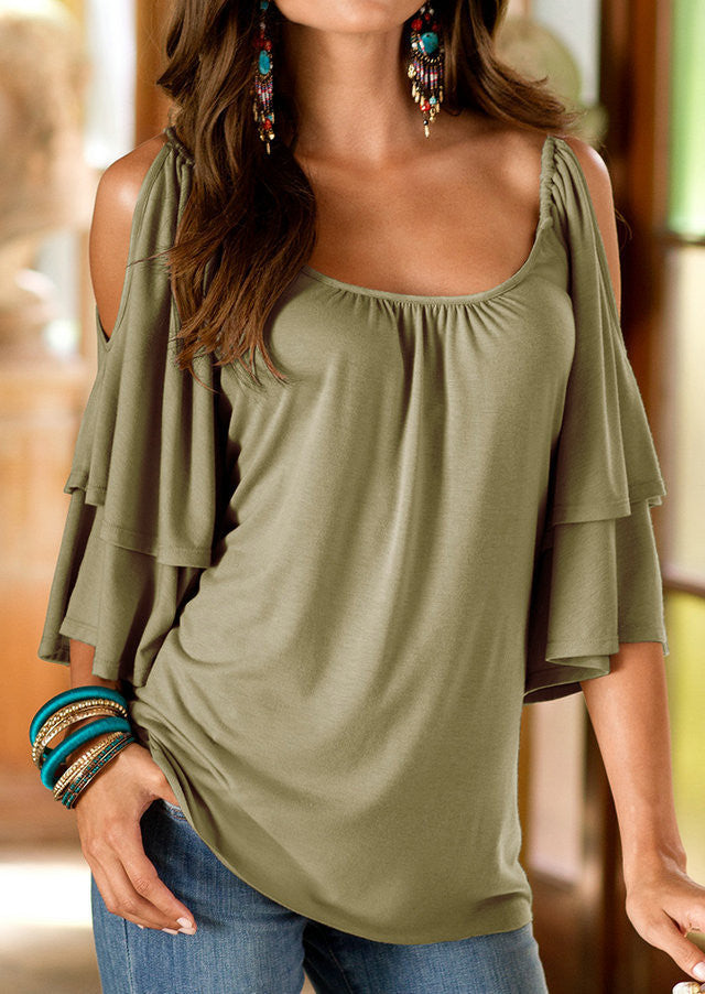 Dew Shoulder Double Layer 1/2 Sleeve Scoop Blouse - Oh Yours Fashion - 2