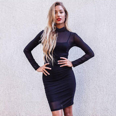Black Transparency Lined Long Sleeve Bodycon Short Two Pieces Dress - Oh Yours Fashion - 1