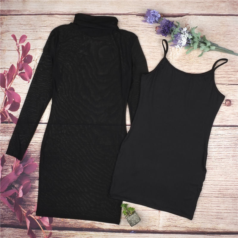 Black Transparency Lined Long Sleeve Bodycon Short Two Pieces Dress - Oh Yours Fashion - 7