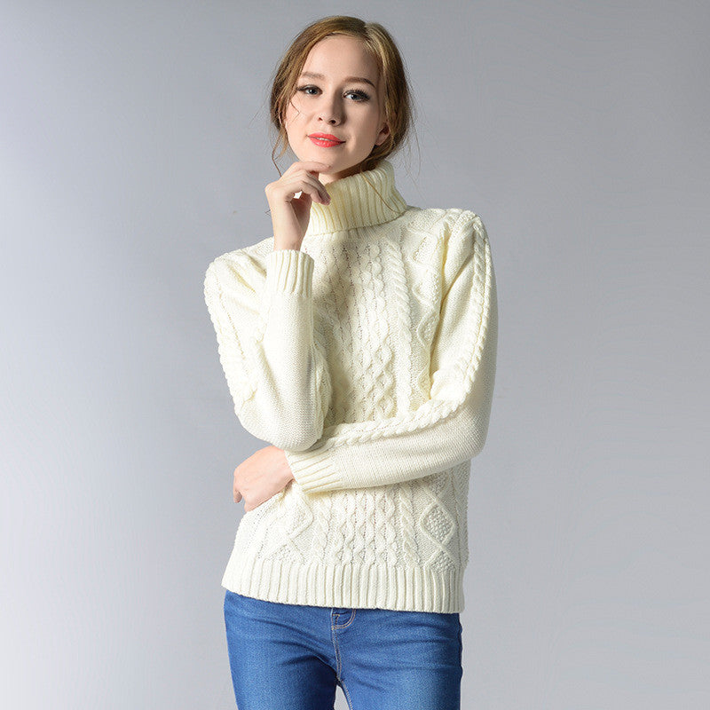 Casual High-Neck Braid Knitting Slim Sweater - Oh Yours Fashion - 1