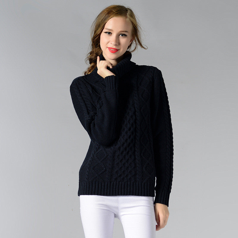 Casual High-Neck Braid Knitting Slim Sweater - Oh Yours Fashion - 5