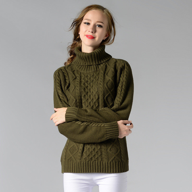 Casual High-Neck Braid Knitting Slim Sweater - Oh Yours Fashion - 7