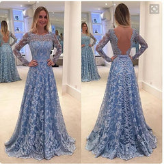 Charming Lace Patchwork Backless Long Sleeve Long Party Wedding Dress - Oh Yours Fashion - 1
