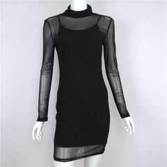 Black Transparency Lined Long Sleeve Bodycon Short Two Pieces Dress - Oh Yours Fashion - 6