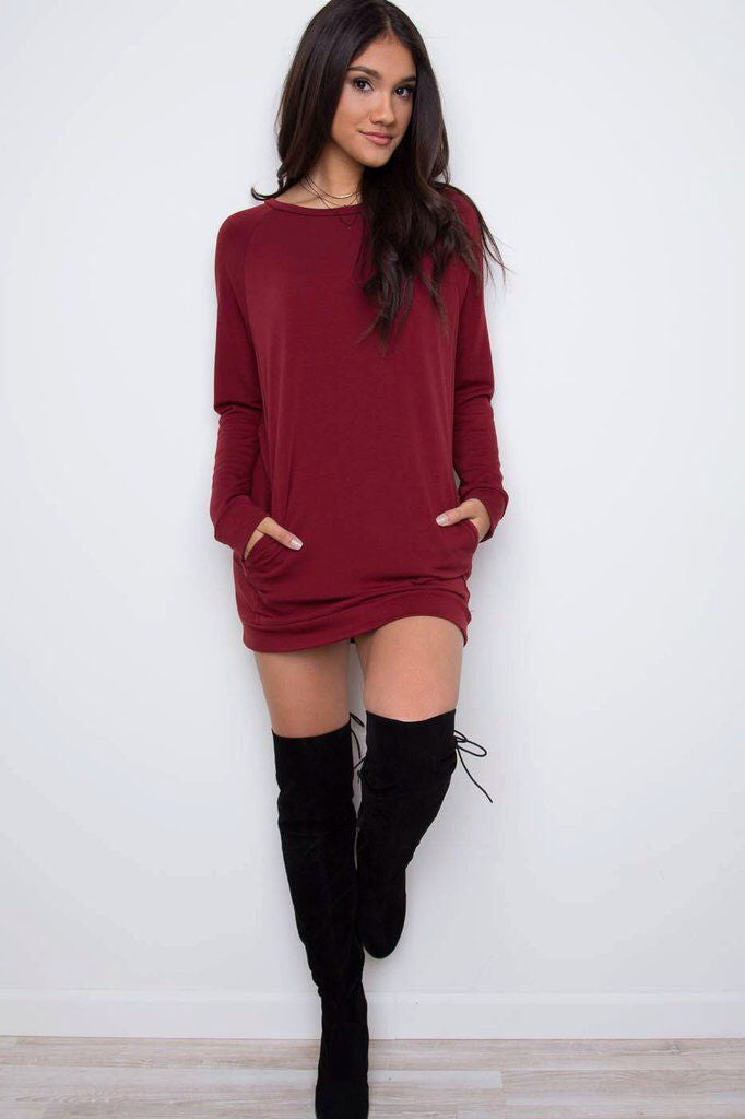 Simple Loose Scoop Long Sleeve Pocket Short Dress - Oh Yours Fashion - 7
