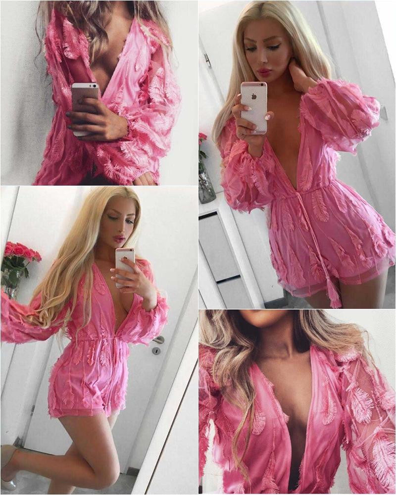 Pink Feather Patchwork Deep V-neck See-through Short Jumpsuit - Oh Yours Fashion - 4