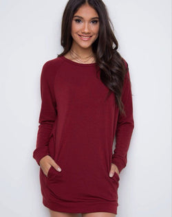 Simple Loose Scoop Long Sleeve Pocket Short Dress - Oh Yours Fashion - 3