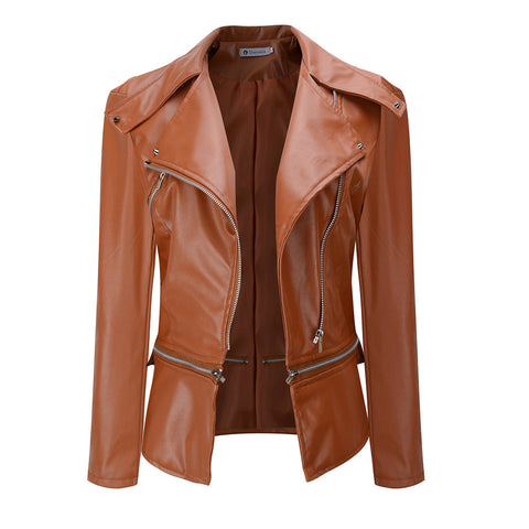 Lapel Oblique Zipper Women Slim Motorcycle PU Jacket