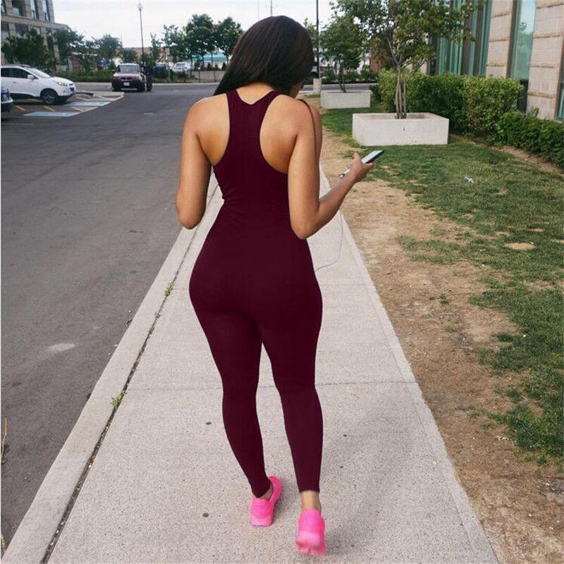 Pure Color Sleeveless Sports Leisure Slim Long Jumpsuit