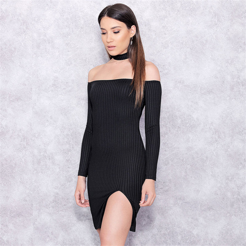 Off Shoulder Long Sleeve Split Bodycon Short Black Dress - Oh Yours Fashion - 4