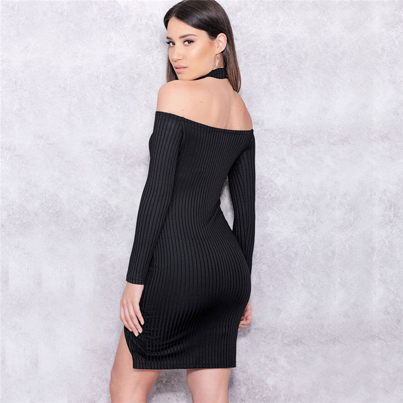 Off Shoulder Long Sleeve Split Bodycon Short Black Dress - Oh Yours Fashion - 6