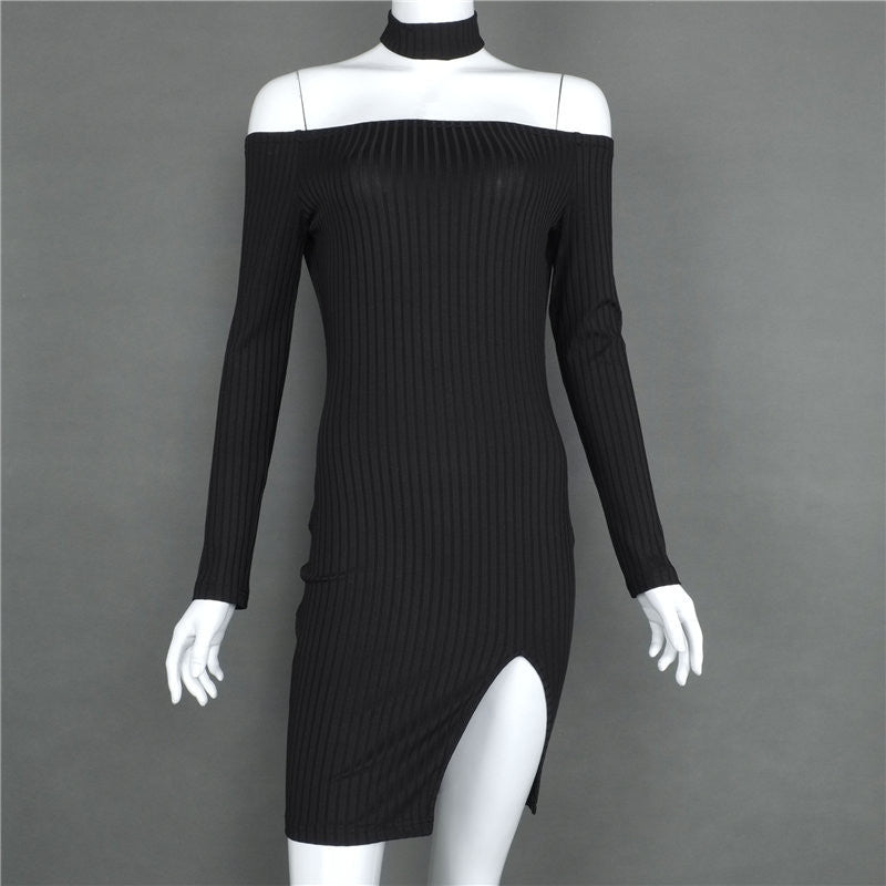 Off Shoulder Long Sleeve Split Bodycon Short Black Dress - Oh Yours Fashion - 7